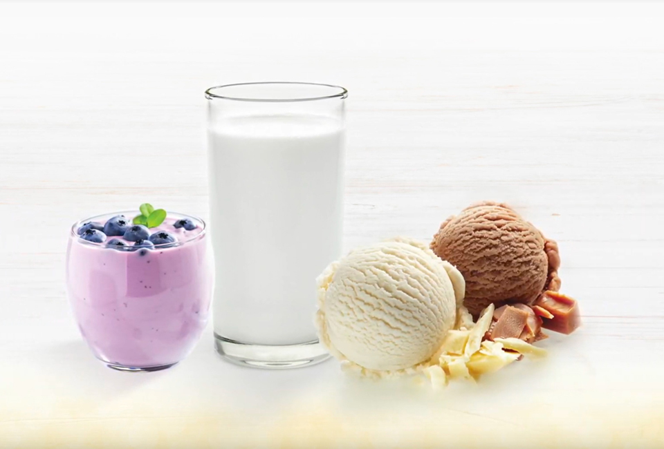 glass of milk with two scoops of icecream and yogurt with blueberries