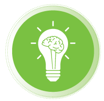 green icon with light bulb and brain